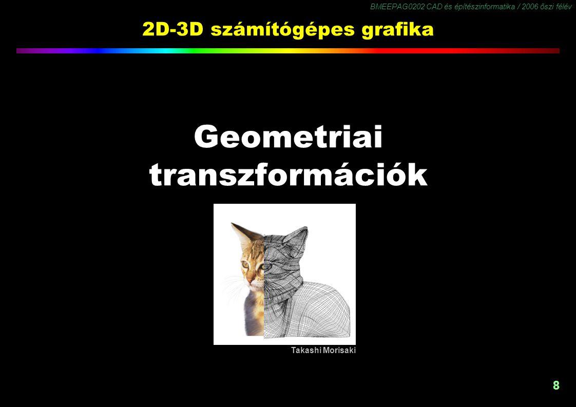 BMEEPAG0202 CAD és építészinformatika / 2006 őszi félév 8 2D-3D számítógépes grafika Geometriai transzformációk Takashi Morisaki