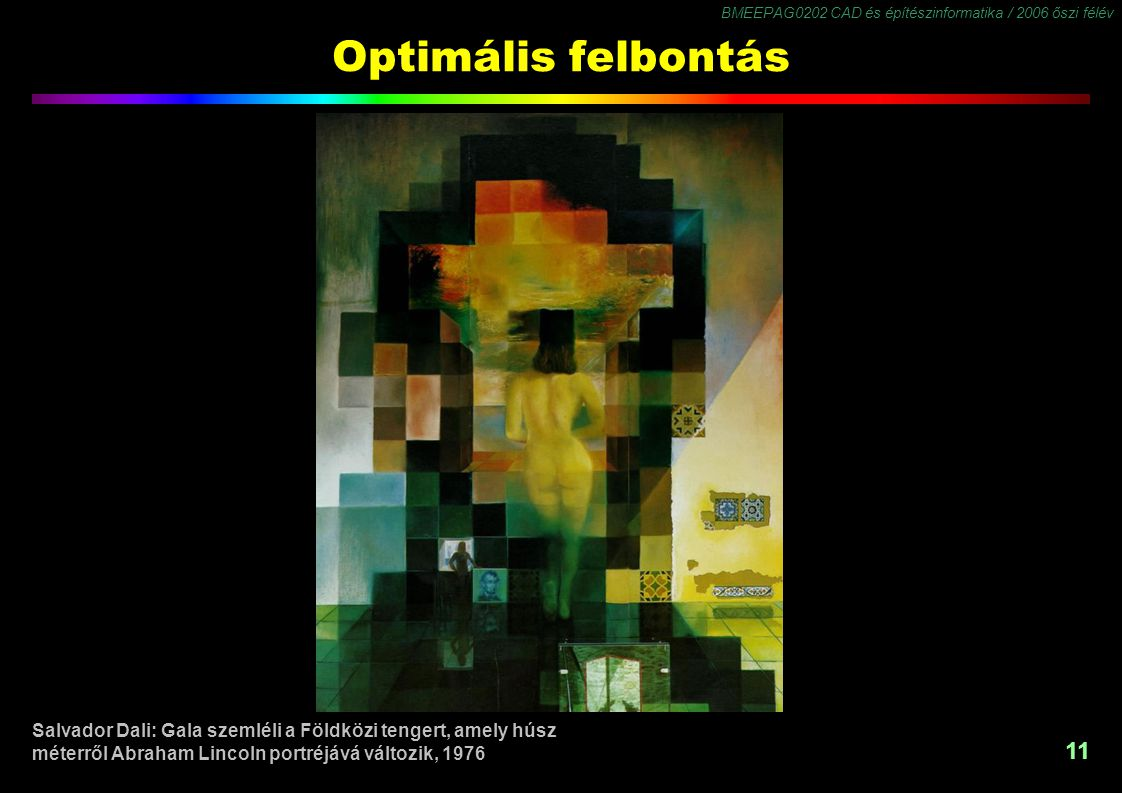 BMEEPAG0202 CAD és építészinformatika / 2006 őszi félév 11 Optimális felbontás Salvador Dali: Gala szemléli a Földközi tengert, amely húsz méterről Ab