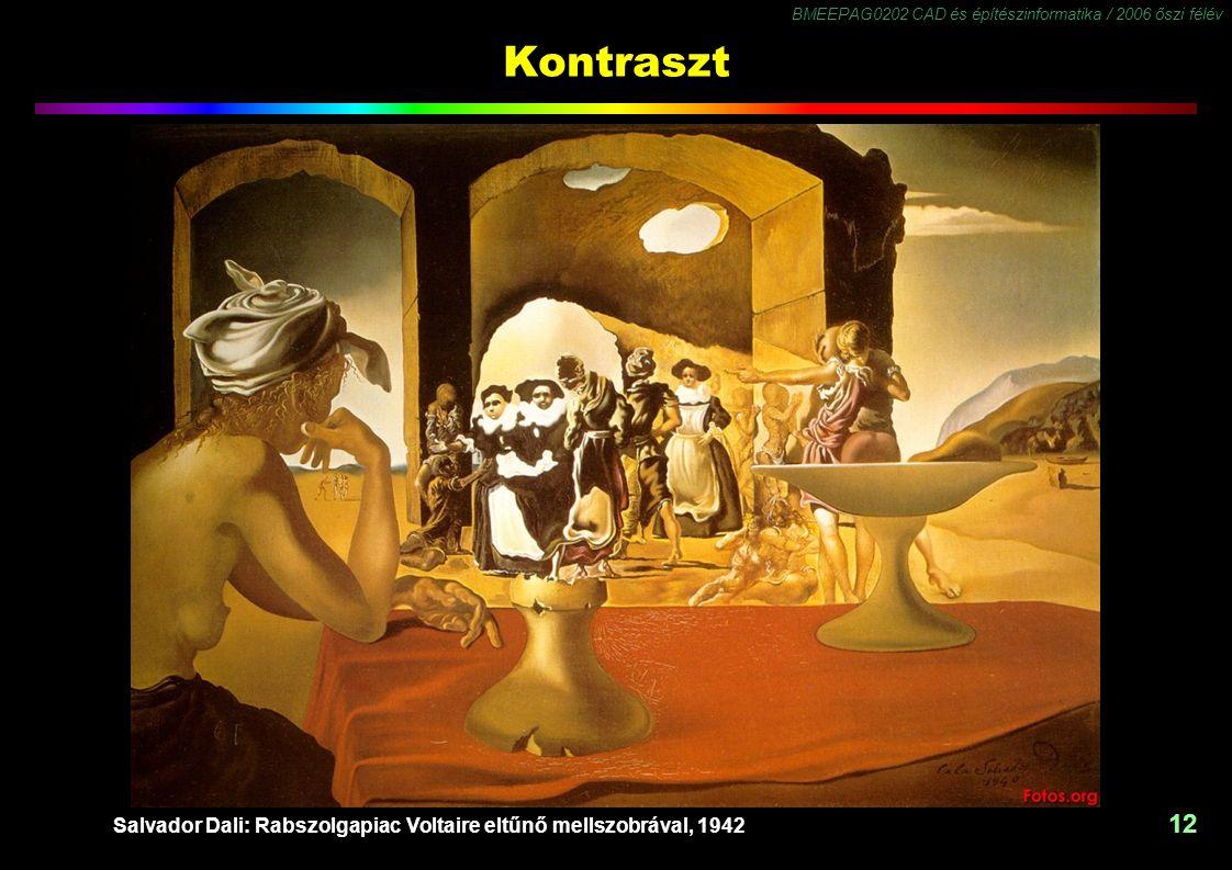 BMEEPAG0202 CAD és építészinformatika / 2006 őszi félév 12 Kontraszt Salvador Dali: Rabszolgapiac Voltaire eltűnő mellszobrával, 1942