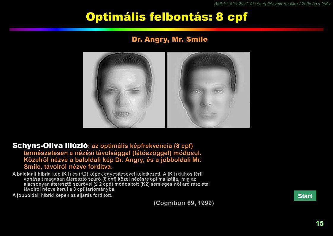 BMEEPAG0202 CAD és építészinformatika / 2006 őszi félév 15 Optimális felbontás: 8 cpf Dr. Angry, Mr. Smile Schyns-Oliva illúzió : az optimális képfrek