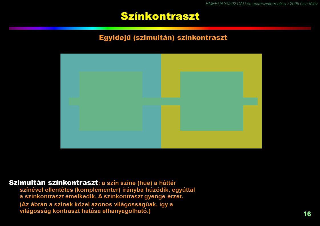 BMEEPAG0202 CAD és építészinformatika / 2006 őszi félév 16 Színkontraszt Szimultán színkontraszt : a szín színe (hue) a háttér színével ellentétes (ko