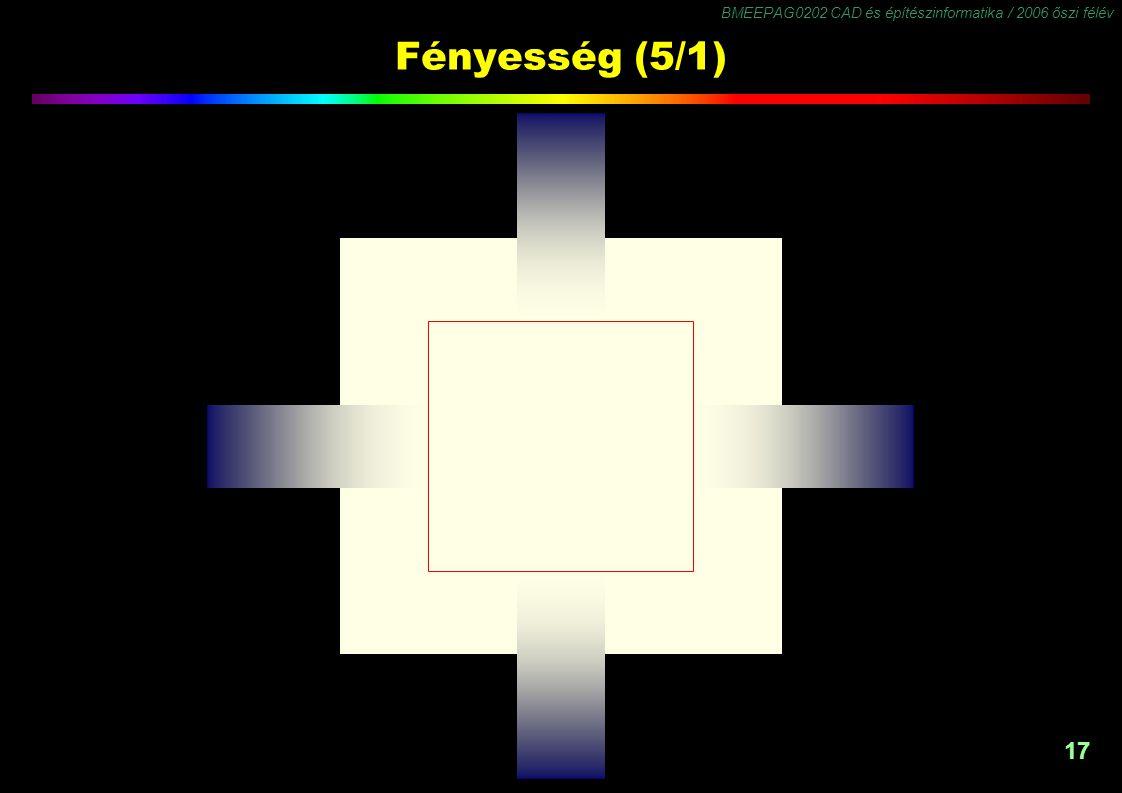 BMEEPAG0202 CAD és építészinformatika / 2006 őszi félév 17 Fényesség (5/1)