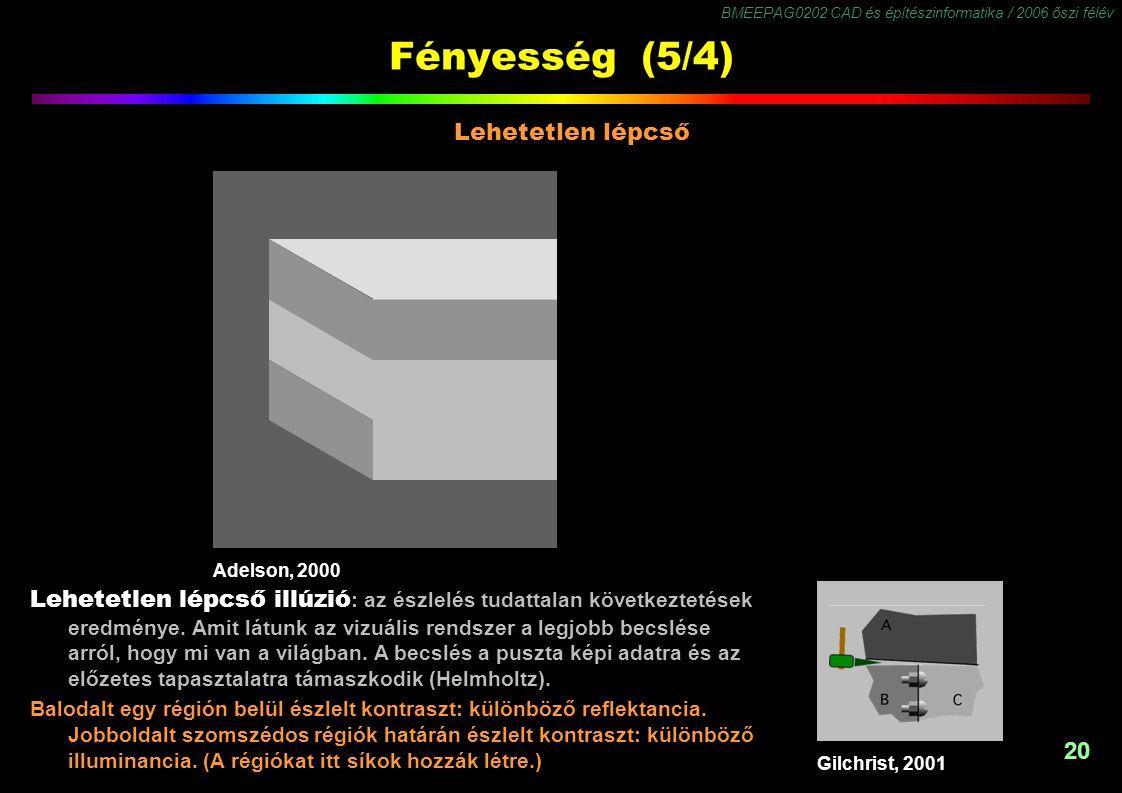 BMEEPAG0202 CAD és építészinformatika / 2006 őszi félév 20 Fényesség (5/4) Adelson, 2000 Lehetetlen lépcső Lehetetlen lépcső illúzió : az észlelés tud