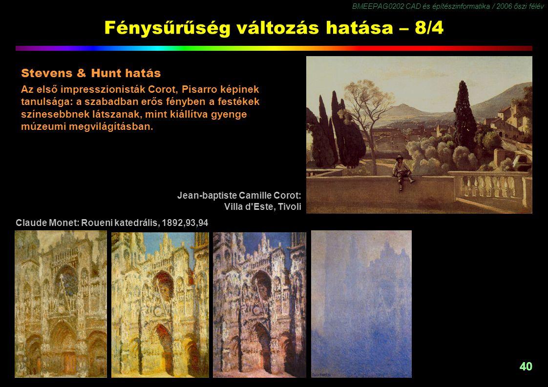 BMEEPAG0202 CAD és építészinformatika / 2006 őszi félév 40 Fénysűrűség változás hatása – 8/4 Stevens & Hunt hatás Az első impresszionisták Corot, Pisa