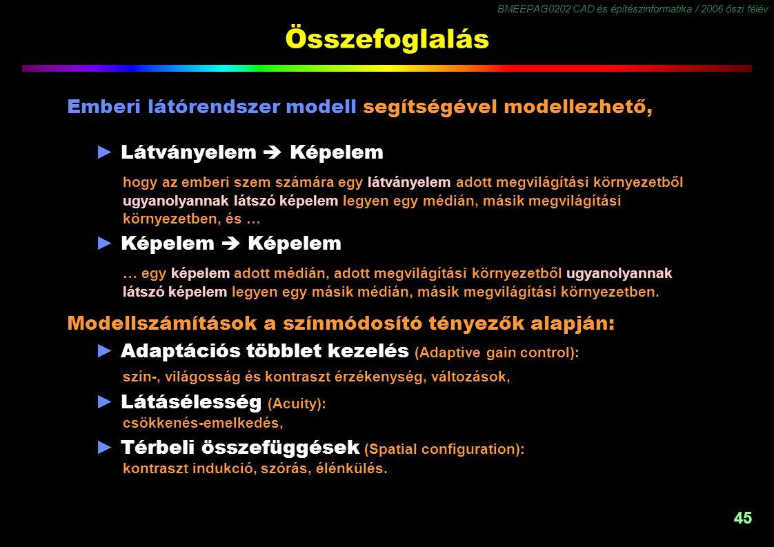 BMEEPAG0202 CAD és építészinformatika / 2006 őszi félév 45 Összefoglalás Emberi látórendszer modell segítségével modellezhető, ► Látványelem  Képelem