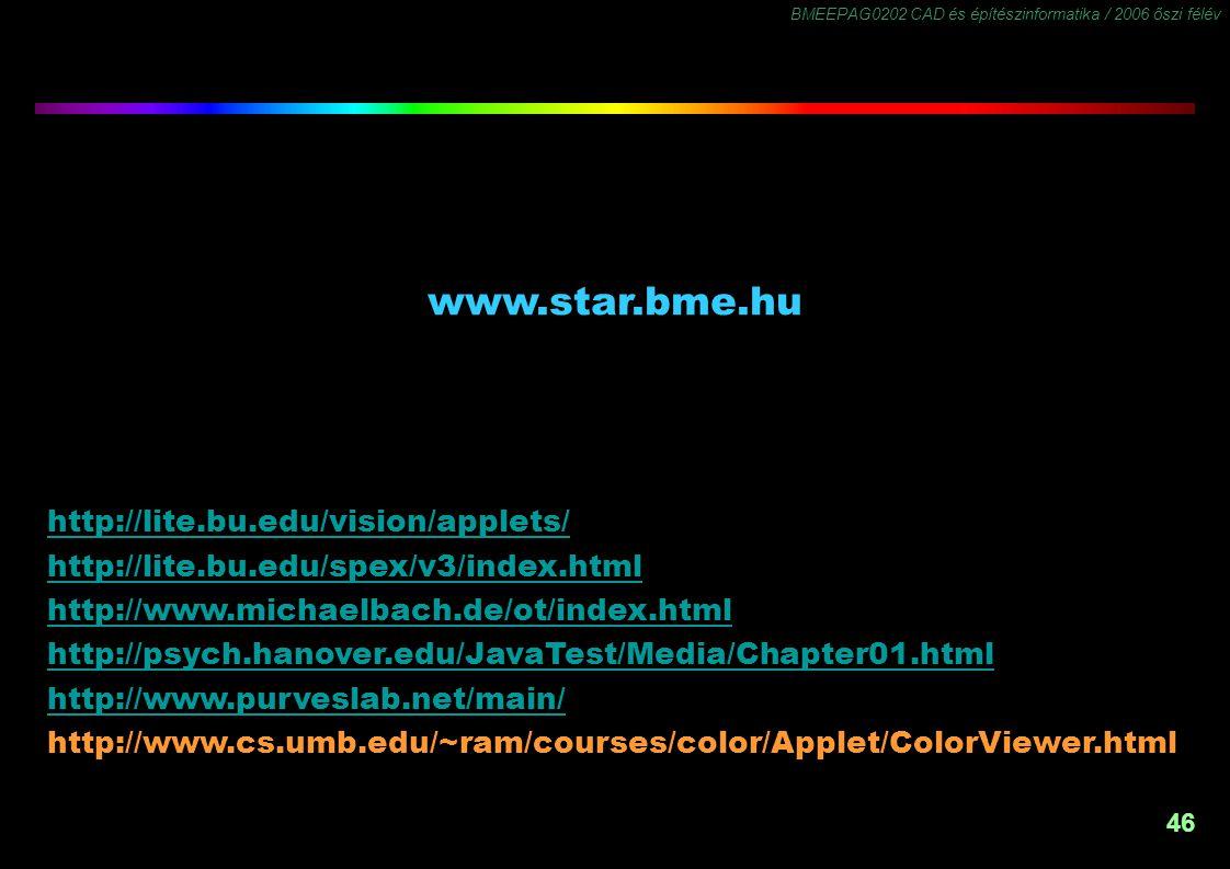 BMEEPAG0202 CAD és építészinformatika / 2006 őszi félév 46 www.star.bme.hu -1,5 www.star.bme.hu http://lite.bu.edu/vision/applets/ http://lite.bu.edu/