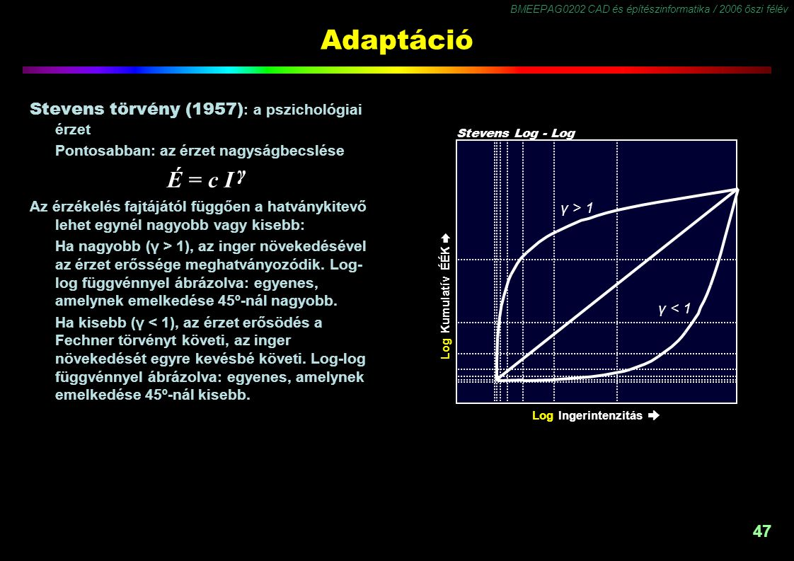 BMEEPAG0202 CAD és építészinformatika / 2006 őszi félév 47 Adaptáció Stevens törvény (1957) : a pszichológiai érzet Pontosabban: az érzet nagyságbecsl