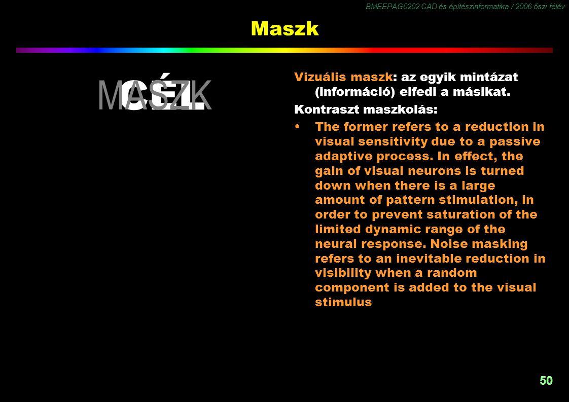 BMEEPAG0202 CAD és építészinformatika / 2006 őszi félév 50 Maszk CÉL Vizuális maszk: az egyik mintázat (információ) elfedi a másikat. Kontraszt maszko