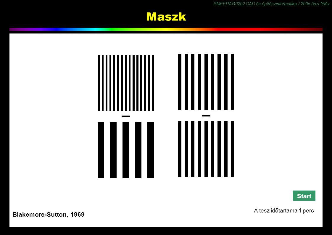 BMEEPAG0202 CAD és építészinformatika / 2006 őszi félév 52 Maszk Blakemore-Sutton, 1969 Start A tesz időtartama 1 perc!