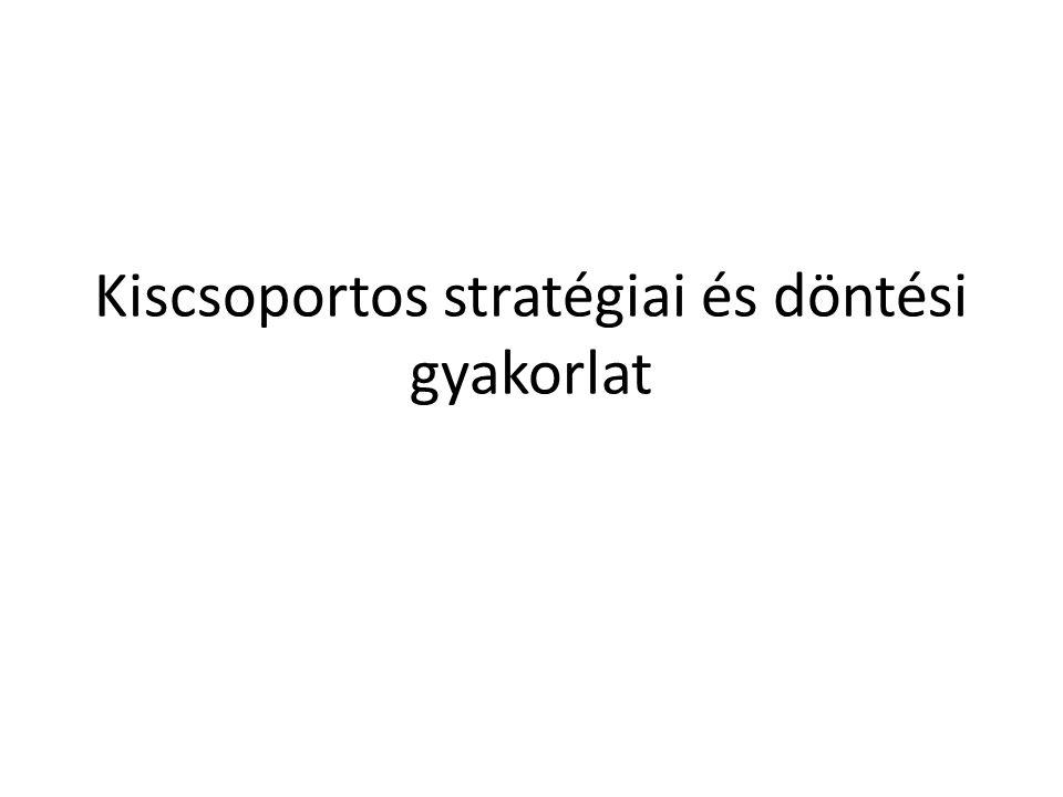 Kiscsoportos stratégiai és döntési gyakorlat