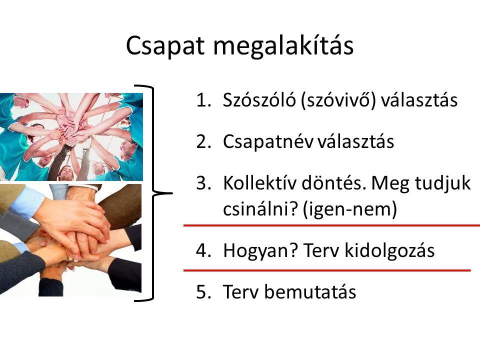 Csapat megalakítás 1.Szószóló (szóvivő) választás 2.Csapatnév választás 3.Kollektív döntés.