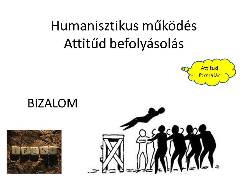 Humanisztikus működés Attitűd befolyásolás Attitűd formálás BIZALOM