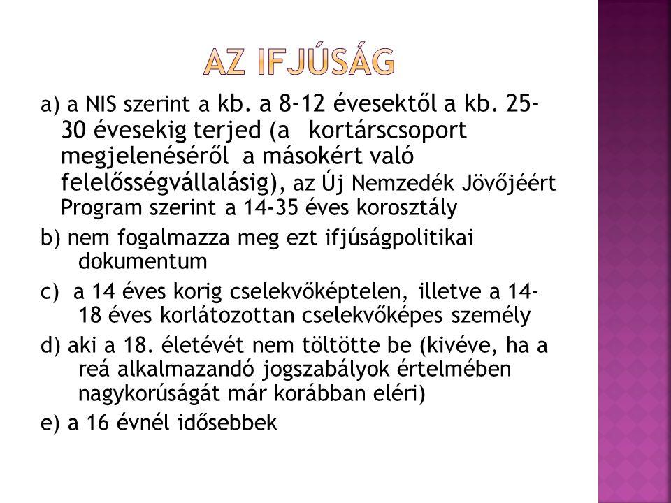 a) a NIS szerint a kb. a 8-12 évesektől a kb. 25- 30 évesekig terjed (akortárscsoport megjelenéséről a másokért való felelősségvállalásig), az Új Nemz