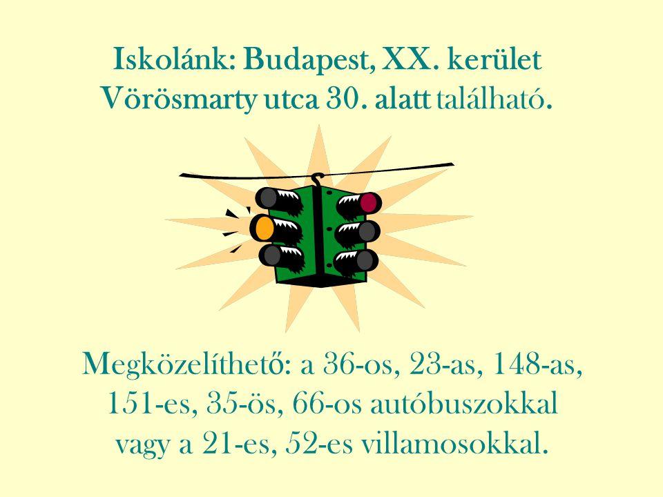 Iskolánk: Budapest, XX. kerület Vörösmarty utca 30. alatt található. Megközelíthet ő : a 36-os, 23-as, 148-as, 151-es, 35-ös, 66-os autóbuszokkal vagy