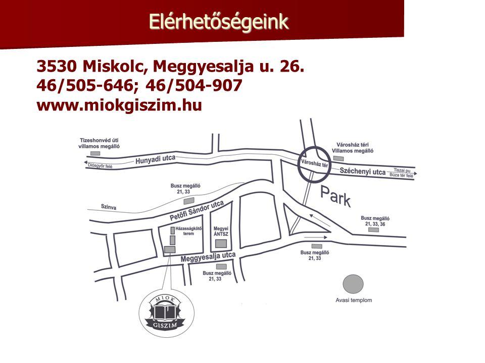 Elérhetőségeink 3530 Miskolc, Meggyesalja u. 26. 46/505-646; 46/504-907 www.miokgiszim.hu