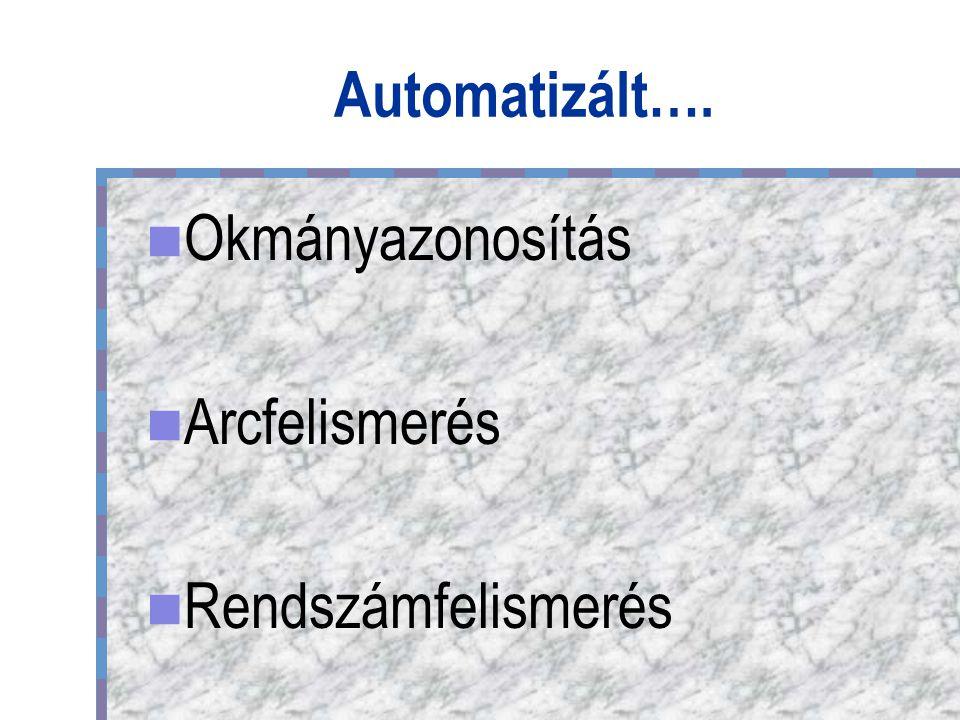 Automatizált…. Okmányazonosítás Arcfelismerés Rendszámfelismerés