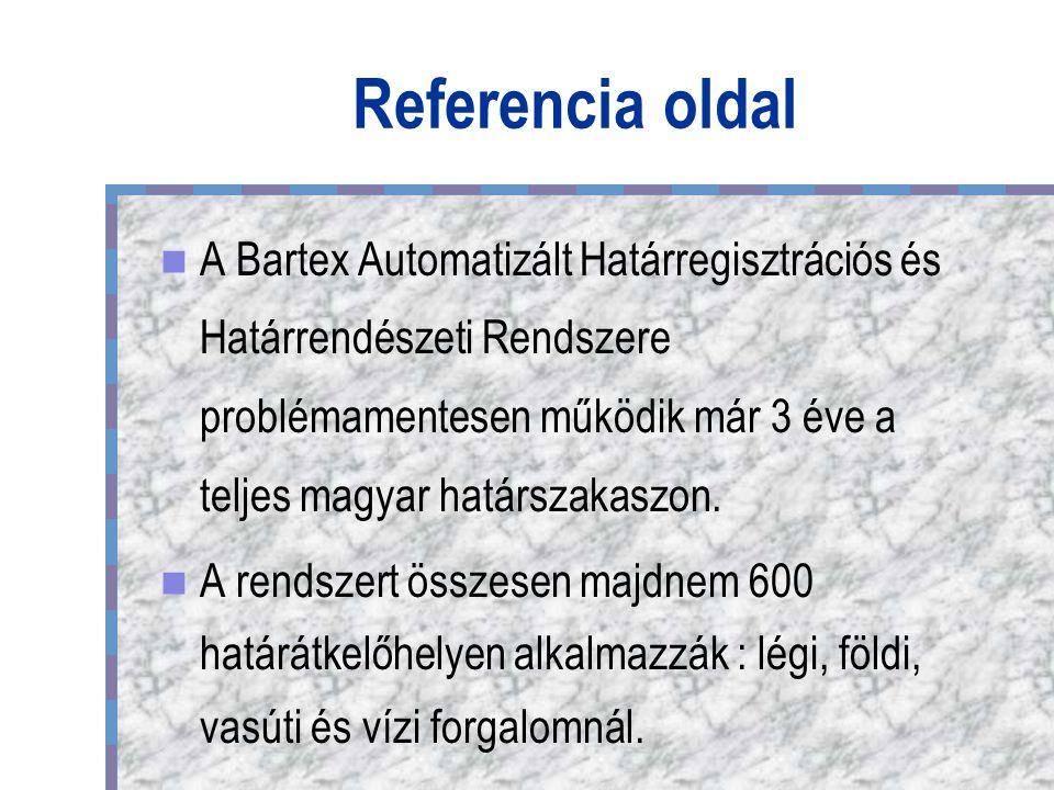 Referencia oldal A Bartex Automatizált Határregisztrációs és Határrendészeti Rendszere problémamentesen működik már 3 éve a teljes magyar határszakaszon.