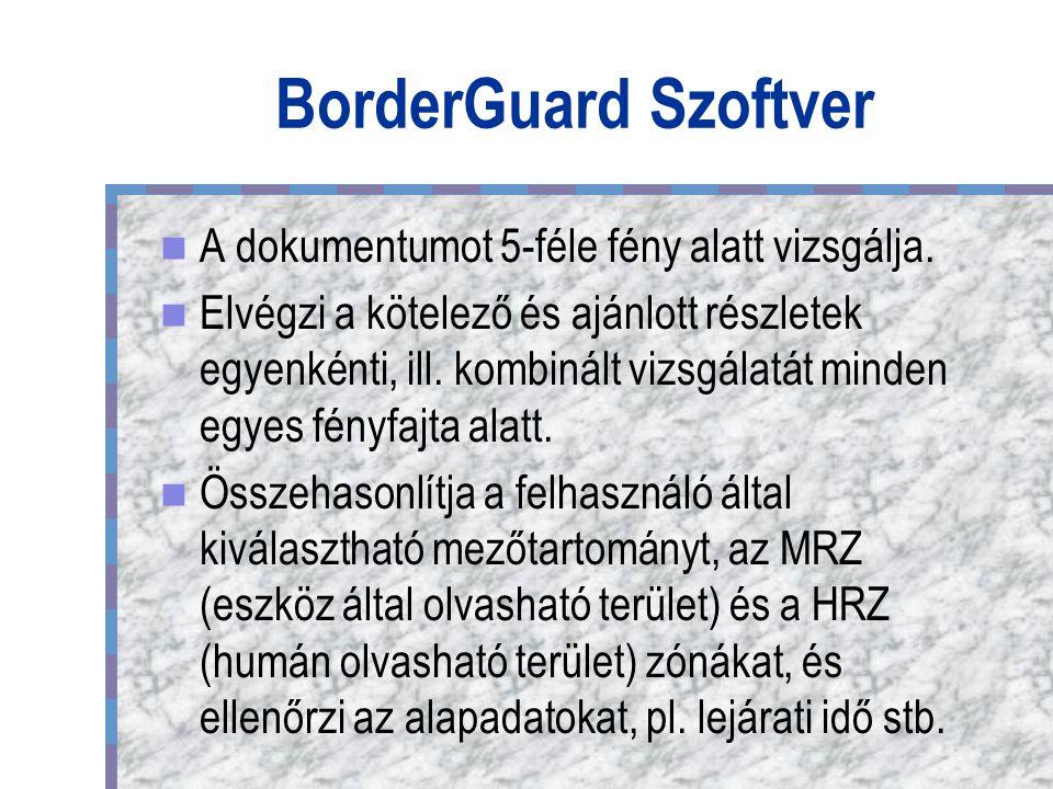 BorderGuard Szoftver A dokumentumot 5-féle fény alatt vizsgálja.
