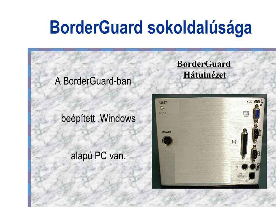 BorderGuard sokoldalúsága A BorderGuard-ban beépített,Windows alapú PC van. BorderGuard Hátulnézet