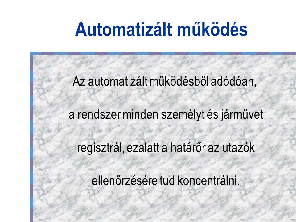 Automatizált működés Az automatizált működésből adódóan, a rendszer minden személyt és járművet regisztrál, ezalatt a határőr az utazók ellenőrzésére tud koncentrálni.