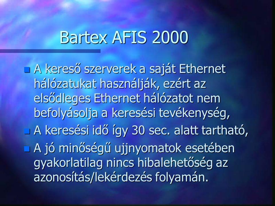 Bartex AFIS 2000 n A kereső szerverek a saját Ethernet hálózatukat használják, ezért az elsődleges Ethernet hálózatot nem befolyásolja a keresési tevé
