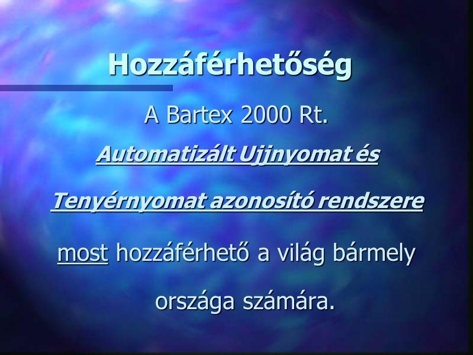 Hozzáférhetőség Hozzáférhetőség A Bartex 2000 Rt. Automatizált Ujjnyomat és Tenyérnyomat azonosító rendszere most hozzáférhető a világ bármely országa