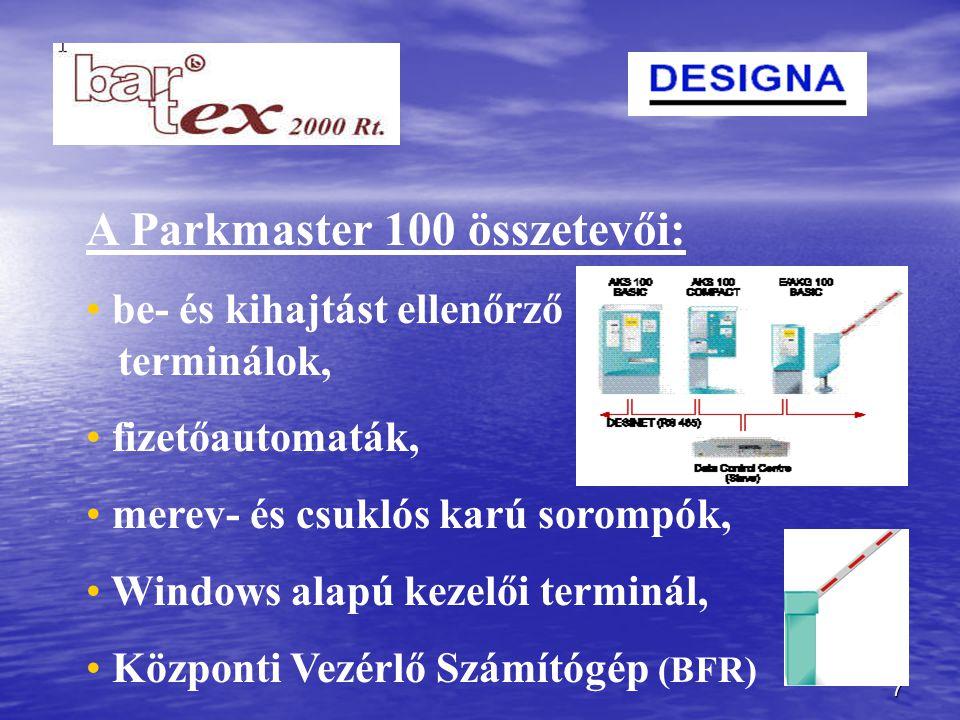 7 A Parkmaster 100 összetevői: be- és kihajtást ellenőrző terminálok, fizetőautomaták, merev- és csuklós karú sorompók, Windows alapú kezelői terminál, Központi Vezérlő Számítógép (BFR)