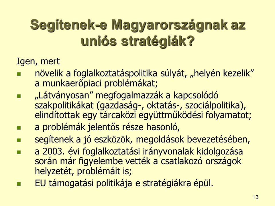 """13 Segítenek-e Magyarországnak az uniós stratégiák? Igen, mert növelik a foglalkoztatáspolitika súlyát, """"helyén kezelik"""" a munkaerőpiaci problémákat;"""
