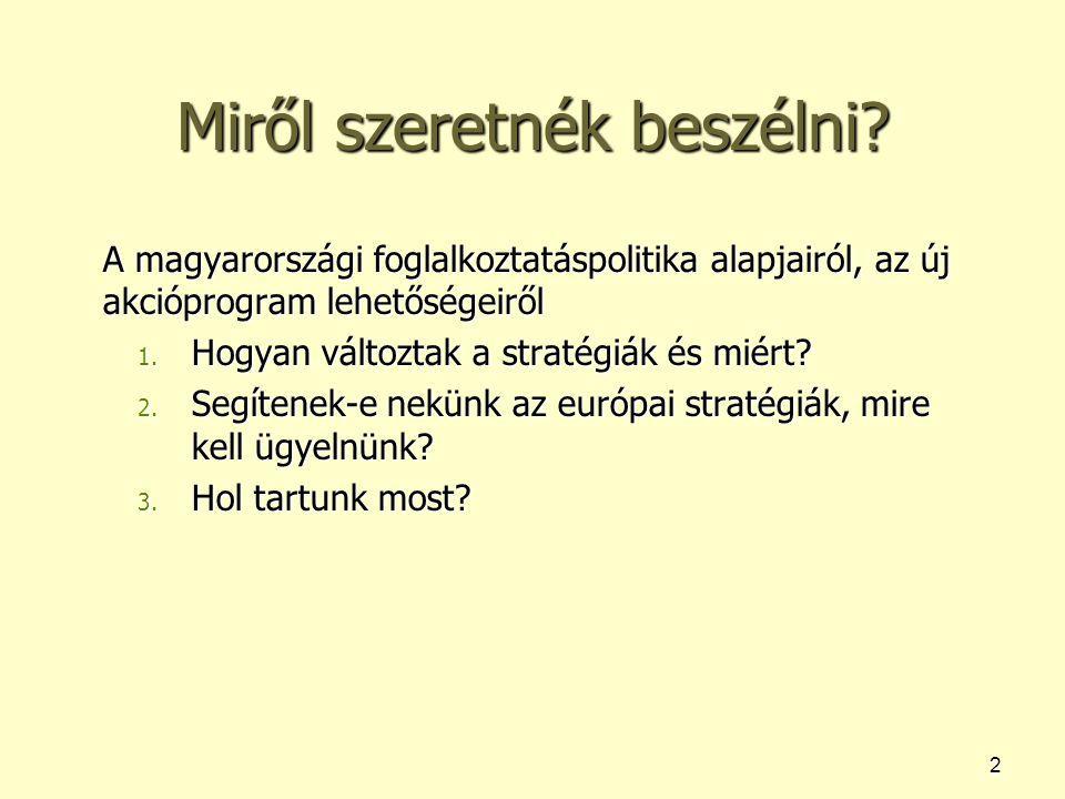 2 Miről szeretnék beszélni? A magyarországi foglalkoztatáspolitika alapjairól, az új akcióprogram lehetőségeiről 1. Hogyan változtak a stratégiák és m
