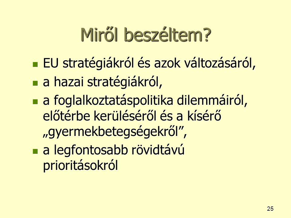 25 Miről beszéltem? EU stratégiákról és azok változásáról, EU stratégiákról és azok változásáról, a hazai stratégiákról, a hazai stratégiákról, a fogl
