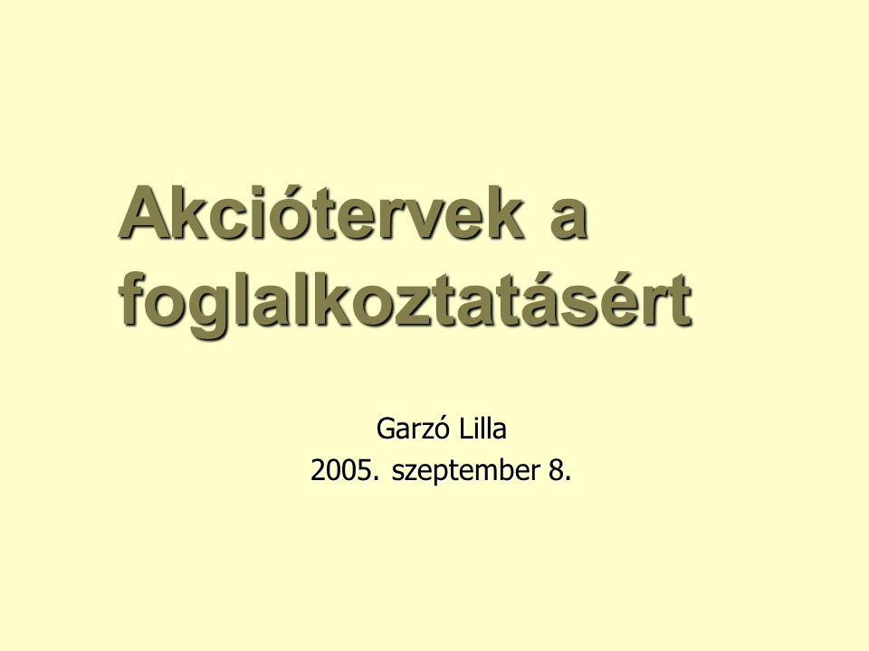 Akciótervek a foglalkoztatásért Garzó Lilla 2005. szeptember 8.