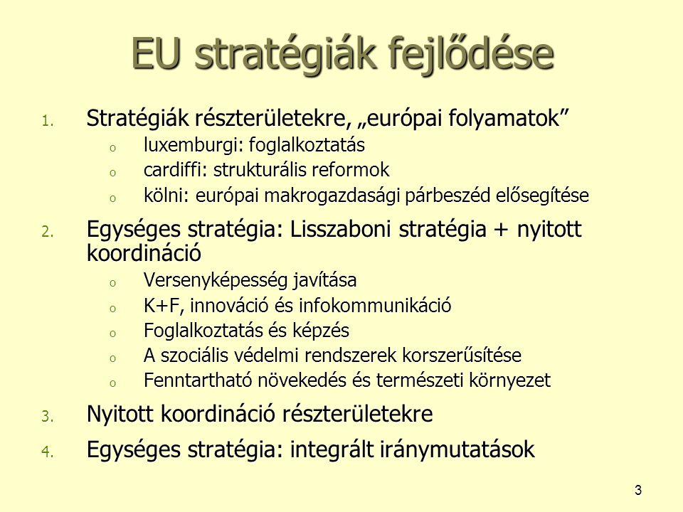 """3 EU stratégiák fejlődése 1. Stratégiák részterületekre, """"európai folyamatok"""" o luxemburgi: foglalkoztatás o cardiffi: strukturális reformok o kölni:"""