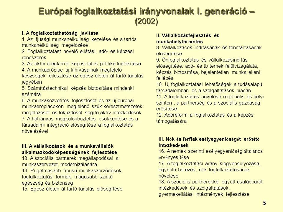 5 Európai foglalkoztatási irányvonalak I. generáció – (2002) I. A foglalkoztathatóság javítása 1. Az ifjúsági munkanélküliség kezelése és a tartós mun