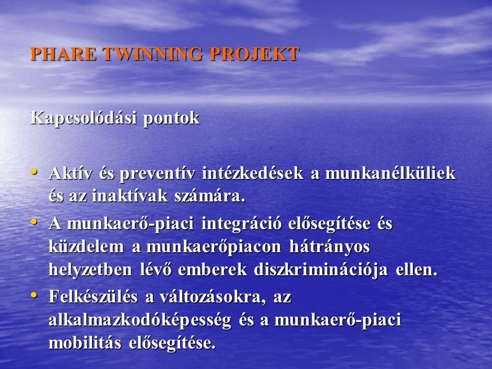 PHARE TWINNING PROJEKT Kapcsolódási pontok Aktív és preventív intézkedések a munkanélküliek és az inaktívak számára.