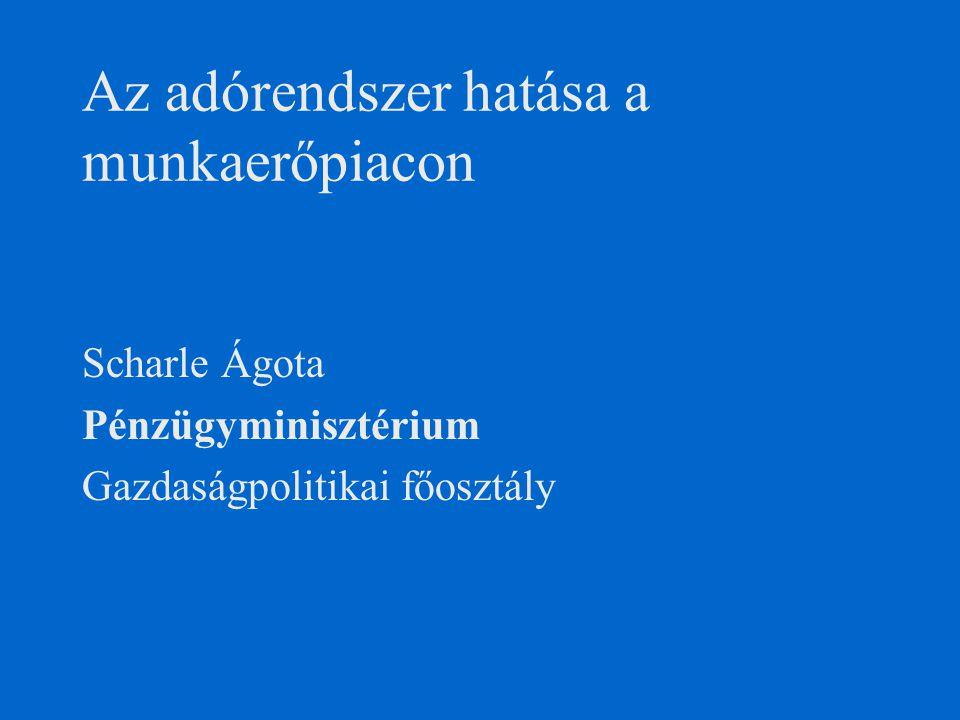 Az adórendszer hatása a munkaerőpiacon Scharle Ágota Pénzügyminisztérium Gazdaságpolitikai főosztály