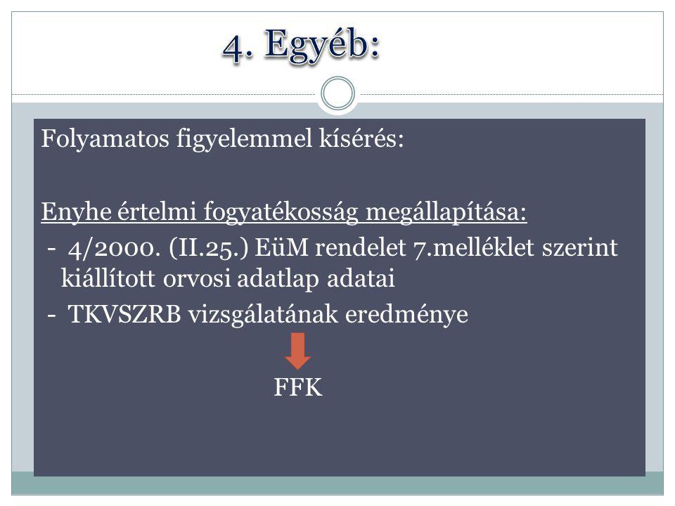 Folyamatos figyelemmel kísérés: Enyhe értelmi fogyatékosság megállapítása: - 4/2000. (II.25.) EüM rendelet 7.melléklet szerint kiállított orvosi adatl