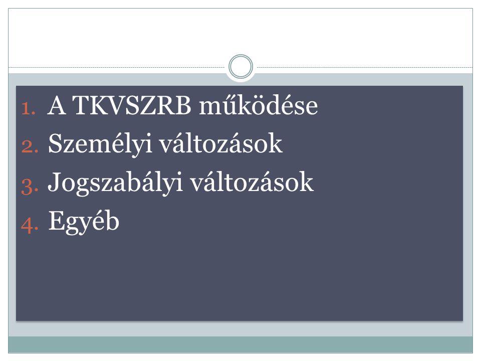 1. A TKVSZRB működése 2. Személyi változások 3. Jogszabályi változások 4. Egyéb 1. A TKVSZRB működése 2. Személyi változások 3. Jogszabályi változások