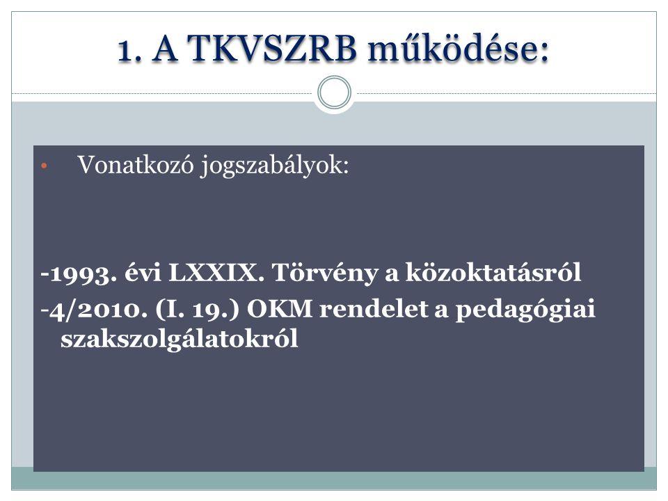 1. A TKVSZRB működése: Vonatkozó jogszabályok: -1993. évi LXXIX. Törvény a közoktatásról -4/2010. (I. 19.) OKM rendelet a pedagógiai szakszolgálatokró
