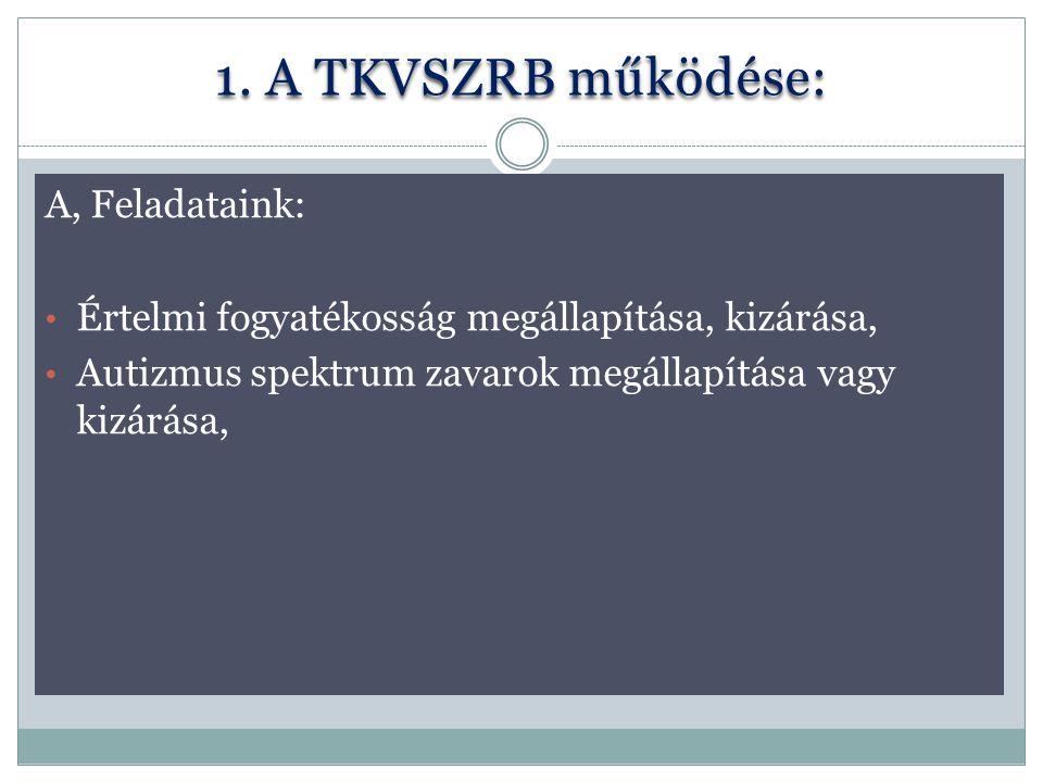 1. A TKVSZRB működése: A, Feladataink: Értelmi fogyatékosság megállapítása, kizárása, Autizmus spektrum zavarok megállapítása vagy kizárása,