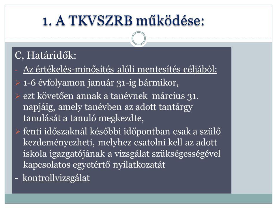 1. A TKVSZRB működése: C, Határidők: - Az értékelés-minősítés alóli mentesítés céljából:  1-6 évfolyamon január 31-ig bármikor,  ezt követően annak