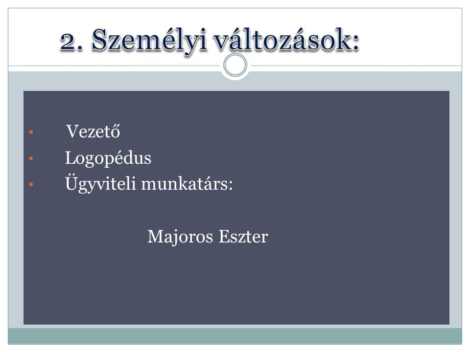 Vezető Logopédus Ügyviteli munkatárs: Majoros Eszter