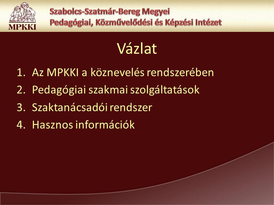 Vázlat 1.Az MPKKI a köznevelés rendszerében 2.Pedagógiai szakmai szolgáltatások 3.Szaktanácsadói rendszer 4.Hasznos információk
