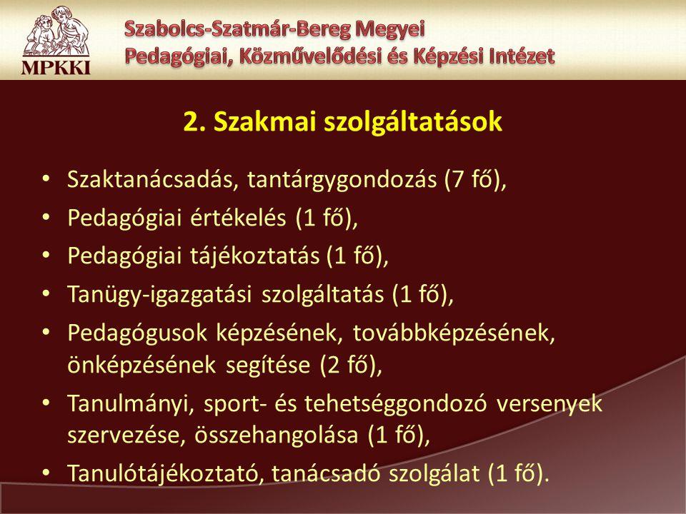 2. Szakmai szolgáltatások Szaktanácsadás, tantárgygondozás (7 fő), Pedagógiai értékelés (1 fő), Pedagógiai tájékoztatás (1 fő), Tanügy-igazgatási szol