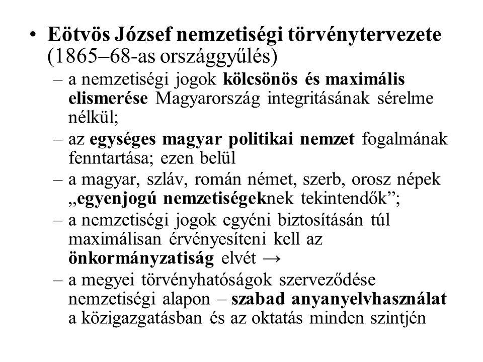 Eötvös József nemzetiségi törvénytervezete (1865–68-as országgyűlés) –a nemzetiségi jogok kölcsönös és maximális elismerése Magyarország integritásána