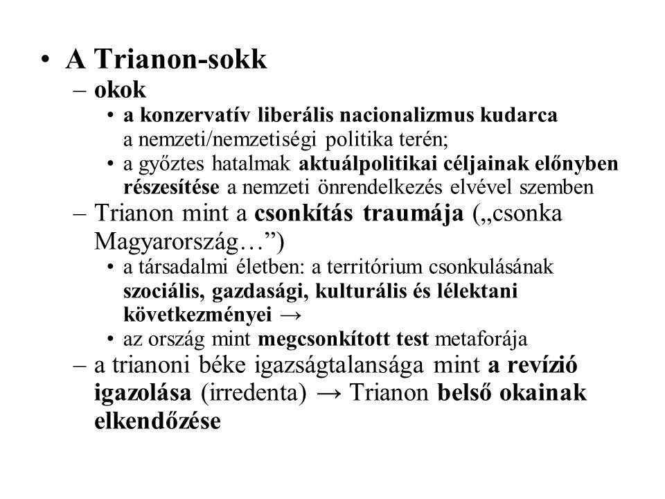 A Trianon-sokk –okok a konzervatív liberális nacionalizmus kudarca a nemzeti/nemzetiségi politika terén; a győztes hatalmak aktuálpolitikai céljainak