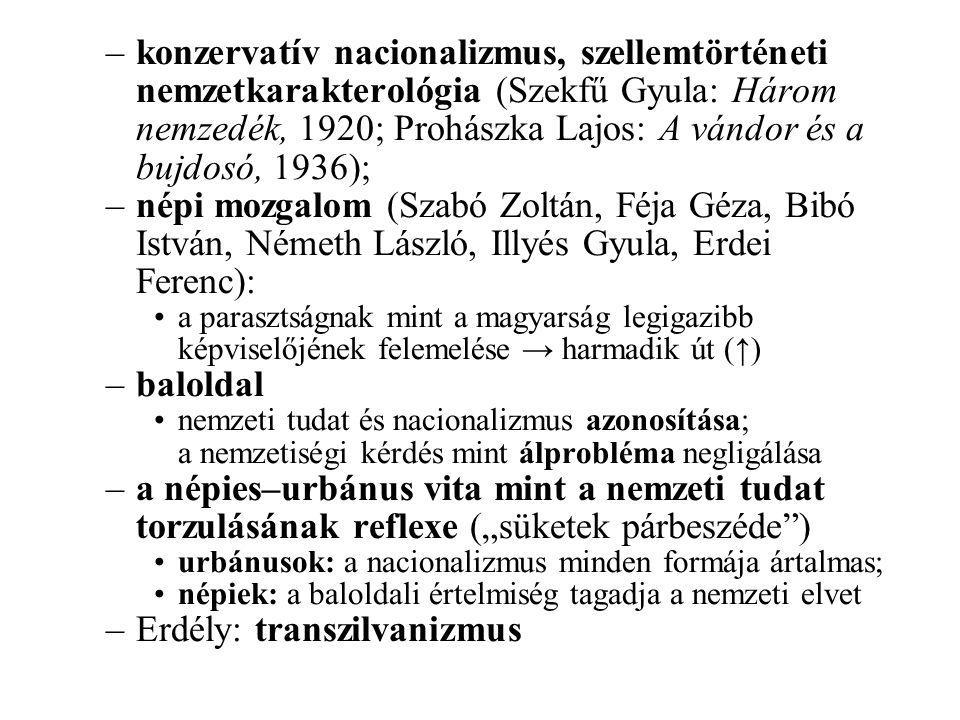 –konzervatív nacionalizmus, szellemtörténeti nemzetkarakterológia (Szekfű Gyula: Három nemzedék, 1920; Prohászka Lajos: A vándor és a bujdosó, 1936);