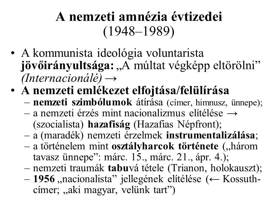 """A kommunista ideológia voluntarista jövőirányultsága: """"A múltat végképp eltörölni"""" (Internacionálé) → A nemzeti emlékezet elfojtása/felülírása –nemzet"""