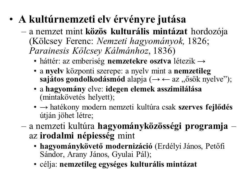 A kultúrnemzeti elv érvényre jutása –a nemzet mint közös kulturális mintázat hordozója (Kölcsey Ferenc: Nemzeti hagyományok, 1826; Parainesis Kölcsey