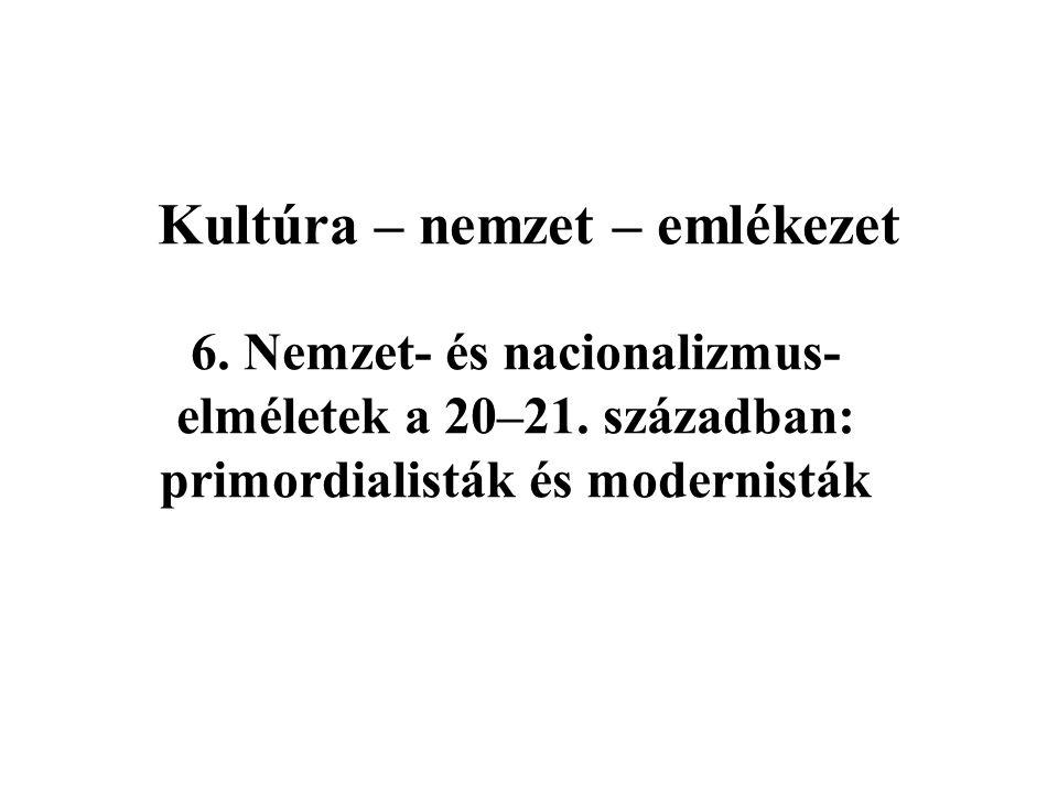 Kultúra – nemzet – emlékezet 6.Nemzet- és nacionalizmus- elméletek a 20–21.