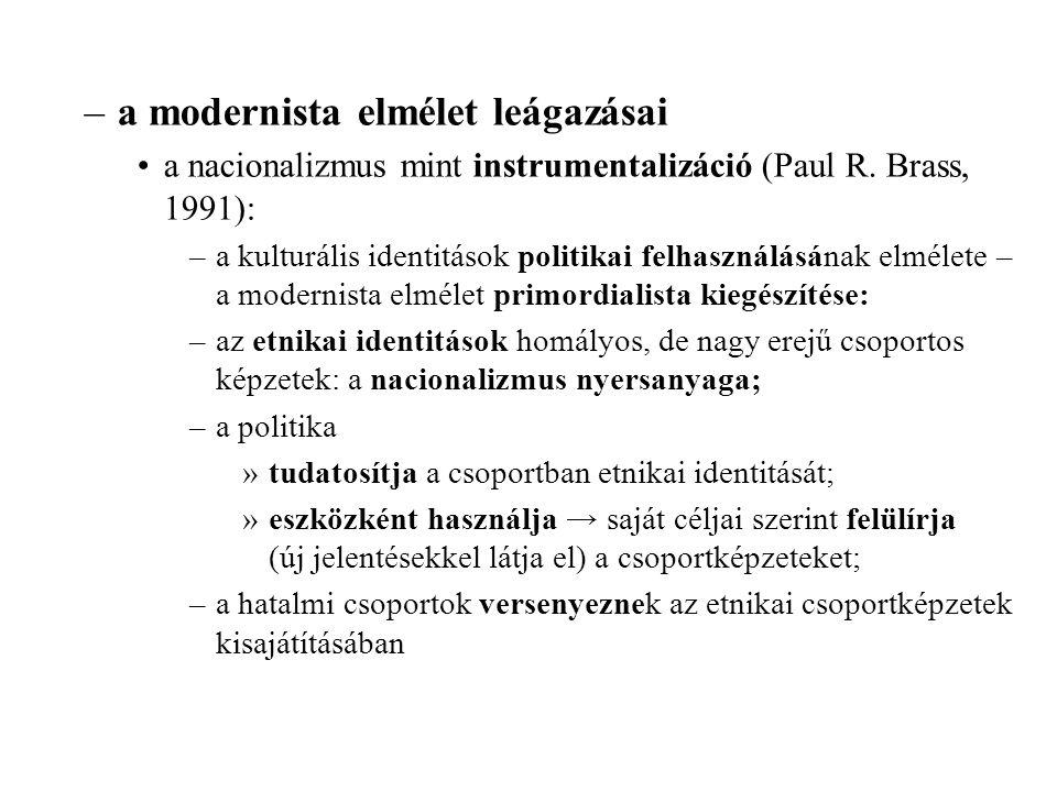 –a modernista elmélet leágazásai a nacionalizmus mint instrumentalizáció (Paul R.